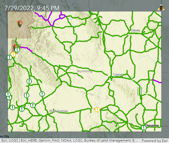 Wyoming Road Report Map WTI   Streamlined Maps: Road Conditions Wyoming Road Report Map