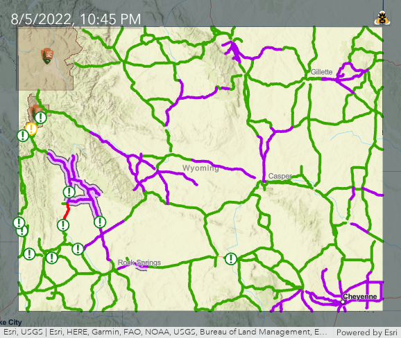 Wyoming Road Conditions Map WTI   Streamlined Maps: Road Conditions Wyoming Road Conditions Map